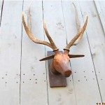 vintage wooden hand carved folk art taxidermy elk with real horns