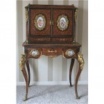 antique 1800s sevres porcelain inlaid wood writing desk