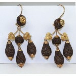antique 1800s victorian gold mourning hair drop earrings