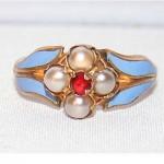 antique 1870s victorian pearl enamel ring