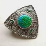 antique 1908 charles horner art nouveau silver enamel brooch