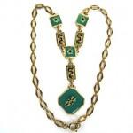 antique 1920s jadeite enamel necklace