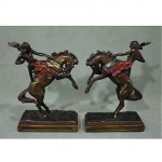 antique american west bronze clad bookends
