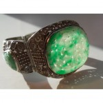 antique chinese jade and silver bracelet