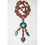 antique chinese silver enamel malachite fruit nut necklace