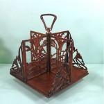 antique oak and brass arts & crafts revolving book caddy