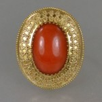 antique victorian etruscan coral ring
