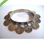 antique victorian sterling silver dimes charm bracelet