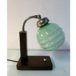vintage 1920s french art deco desk lamp with glass shade