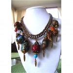 vintage 1930s miriam haskell chunky bauble charm necklace