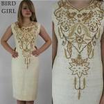 vintage 1960s wood beaded linen shift dress