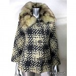 vintage 1960s wool weave car coat with fox collar