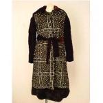 vintage 1970s oscar de la renta velvet dress and coat set with mink trim