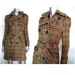 vintage 1970s wool plaid belted coat