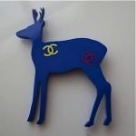 vintage 2001 chanel carved resin reindeer brooch