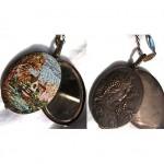 vintage art nouveau italian micro mosaic reversible pendant