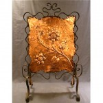 vintage arts & crafts copper wrought iron fireplace screen