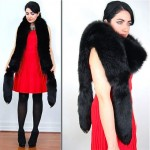 vintage black fox boa scarf wrap with tails