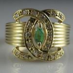 vintage chanel diamond emerald ring