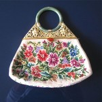 vintage chinese petit point purse with jade handle and carnelian latch