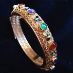 vintage chinese silver filigree stone stone bracelet
