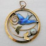 vintage edwardian gilt enamel pendant