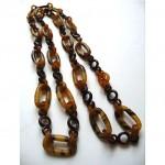 vintage faux tortoise shell celluloid necklace