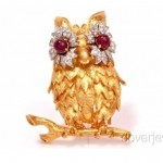vintage hammerman bros ruby diamond 18k owl brooch