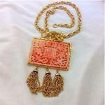 vintage hattie carnegie carved faux coral brooch pendant necklace