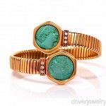 vintage italian carved turquoise cameo 18k bracelet