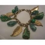 vintage lucite leaf charm bracelet