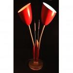 vintage mid-century cattails gooseneck lamp