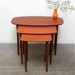 vintage mid-century teak nesting tables