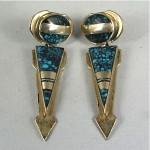 vintage navajo c webster sterling turquoise inlay earrings