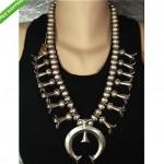 vintage navajo sterling handmade squash blossom necklace