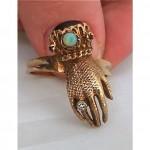 vintage opal diamond garnet hand ring