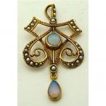 vintage opal pearl pendant