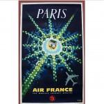 vintage original 1963 pierre baudouin air france travel poster