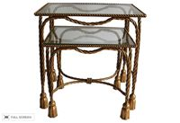 vintage pair of rope and tassel nesting tables