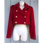 vintage perry ellis wool crop military blazer