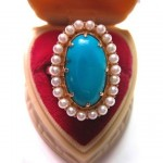 vintage persian turquoise seed pearl 14k ring