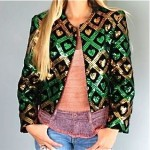 vintage sequin heart velvet jacket