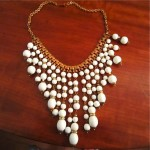 vintage signed miriam haskell milk glass necklace