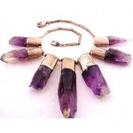 vintage sterling and raw amethyst necklace