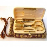 vintage tiffany 18k sewing kit in celluloid case