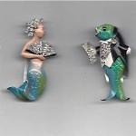 vintage trifari mermaid and fish clips