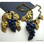 vintage unusual grapes necklace and brooch