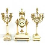 antique 1869s bronze marble manetl clock with candelabra