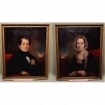 antique 1880s pair oil portraits
