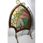 antique 1890s leaded stained glass painted fireplace screen